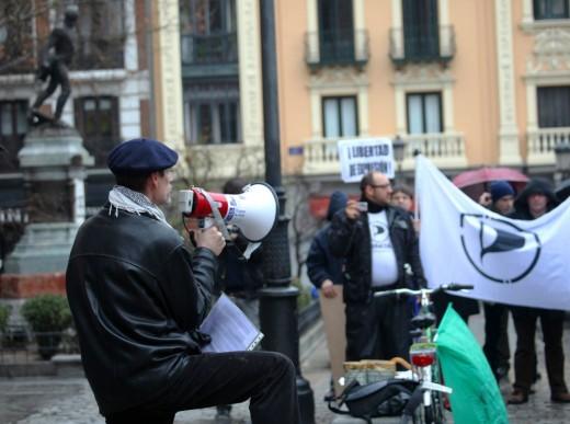 Un actor manifestándose contra la Ley Sinde.