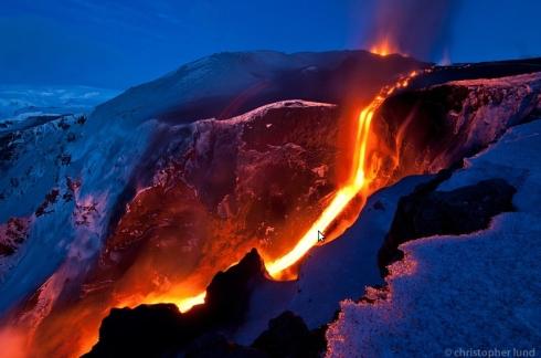 Erupción volcánica Fimmvörðuháls (Foto de 26 marzo 2010)