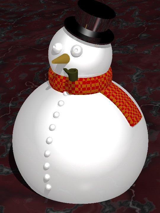 Muñeco de nieve realizado con Povray.