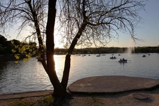 Puesta de sol en el lago de La Casa de Campo.