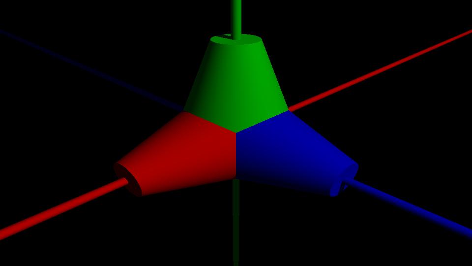 Nuestro objeto 'Tricono' para demostrar la aplicación de operaciones individuales o combinadas de cambio de escala, giros y traslaciones.